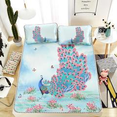 新品专版-大版印花冰丝席 卡通大版花席子 1.5m(5英尺)床 孔雀开屏