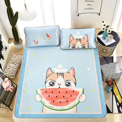 新品专版-大版印花冰丝席 卡通大版花席子 1.5m(5英尺)床 西瓜与猫