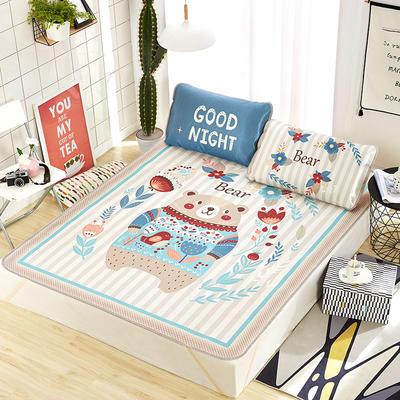 新品专版-大版印花冰丝席 卡通大版花席子 1.5m(5英尺)床 小熊宝贝