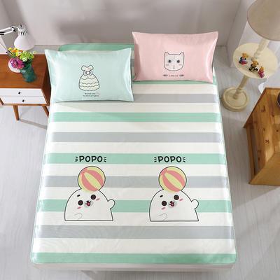 卡通印花冰丝凉席 枕套定位混搭小清新席子 1.8m(6英尺)床 popo熊