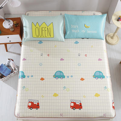 卡通印花冰丝凉席 枕套定位混搭小清新席子 1.5m(5英尺)床 旅行日记
