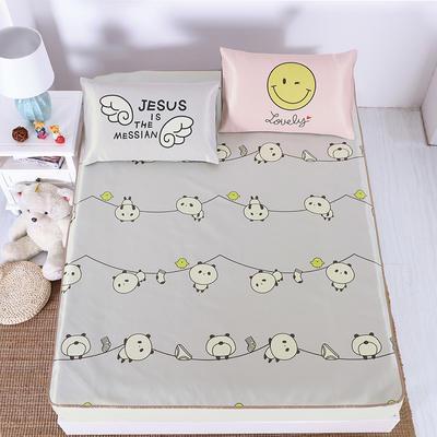 卡通印花冰丝凉席 枕套定位混搭小清新席子 1.5m(5英尺)床 熊猫宝宝