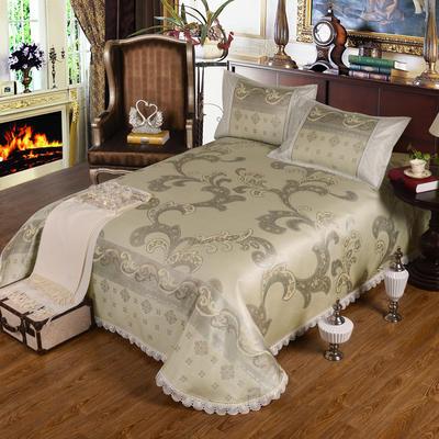 特价水洗冰丝席 床单式凉席 1.5/1.8/2m床用 2.3*2.5m(适用1.5m1.8m床 古欧典雅 银绿