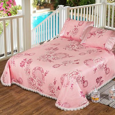 特价水洗冰丝席 床单式凉席 1.5/1.8/2m床用 2.5*2.5m(适用2.0床) 花好月圆-粉