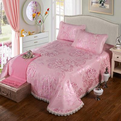 特价水洗冰丝席 床单式凉席 1.5/1.8/2m床用 2*2.3cm(适用1.5m1.8m床) 花开富贵-粉