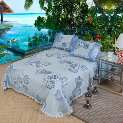 特价水洗冰丝席 床单式凉席 1.5/1.8/2m床用 2.5*2.5m(适用2.0床) 皇冠牡丹-蓝