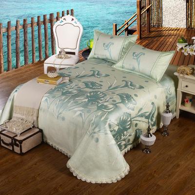 特价水洗冰丝席 床单式凉席 1.5/1.8/2m床用 2.3*2.5m(适用1.5m1.8m床 喇叭花 绿