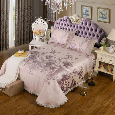 特价水洗冰丝席 床单式凉席 1.5/1.8/2m床用 2.3*2.5m(适用1.5m1.8m床 喇叭花 紫