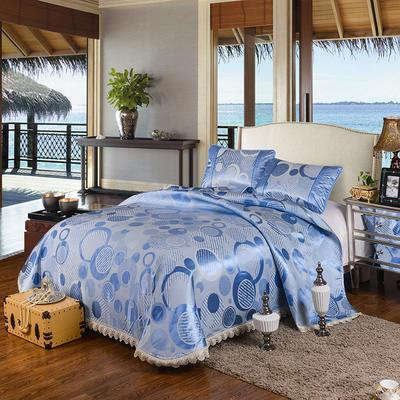 特价水洗冰丝席 床单式凉席 1.5/1.8/2m床用 2.3*2.5m(适用1.5m1.8m床 雅诺 蓝
