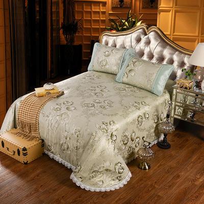 特价水洗冰丝席 床单式凉席 1.5/1.8/2m床用 2.3*2.5m(适用1.5m1.8m床 郁金香-绿