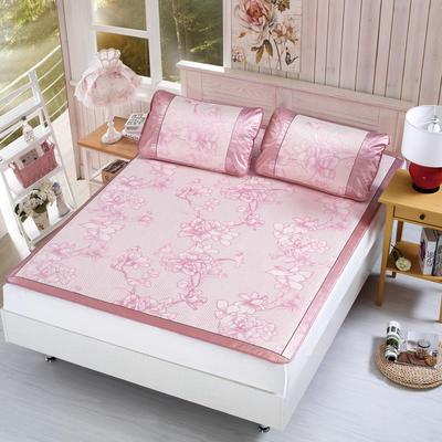 升级版提花冰丝凉席 加密多规格学生席子 1.5m(5英尺)床 浪漫花枝-粉