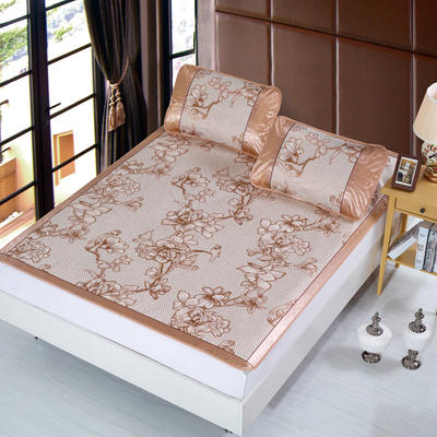 升级版提花冰丝凉席 加密多规格学生席子 1.0m(3.3英尺)床 浪漫花枝-咖