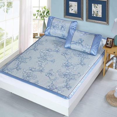 升级版提花冰丝凉席 加密多规格学生席子 1.5m(5英尺)床 浪漫花枝-蓝