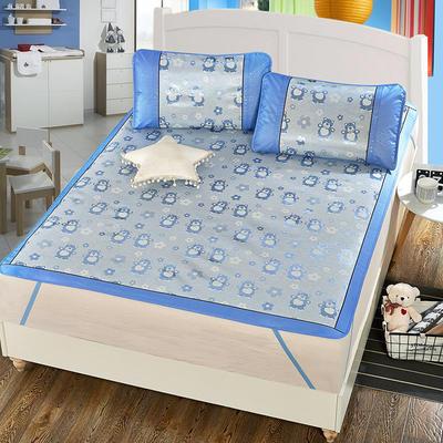 升级版提花冰丝凉席 加密多规格学生席子 1.5m(5英尺)床 两只熊-蓝