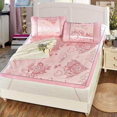升级版提花冰丝凉席 加密多规格学生席子 1.5m(5英尺)床 玫瑰情-粉