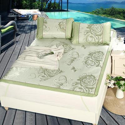 升级版提花冰丝凉席 加密多规格学生席子 1.5m(5英尺)床 玫瑰情-绿