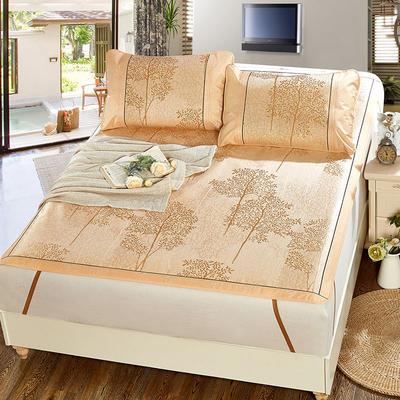 升级版提花冰丝凉席 加密多规格学生席子 1.5m(5英尺)床 美丽印象-金
