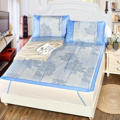 升级版提花冰丝凉席 加密多规格学生席子 1.5m(5英尺)床 美丽印象-蓝