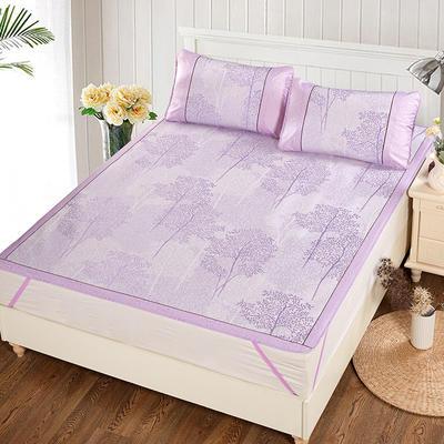 升级版提花冰丝凉席 加密多规格学生席子 1.5m(5英尺)床 美丽印象-紫