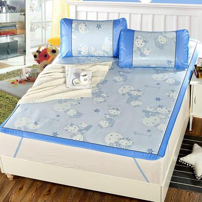 升级版提花冰丝凉席 加密多规格学生席子 1.5m(5英尺)床 萌萌哒-蓝