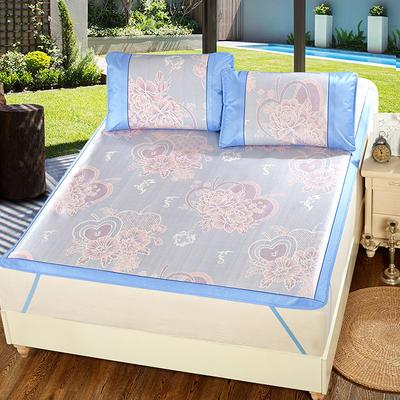 升级版提花冰丝凉席 加密多规格学生席子 1.5m(5英尺)床 心梦缘-蓝