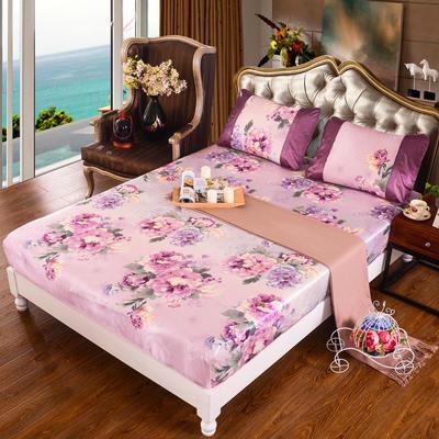 特价水洗冰丝席 床单式凉席 1.5/1.8/2m床用 1.5m(5英尺)床 (床包)迷恋-粉