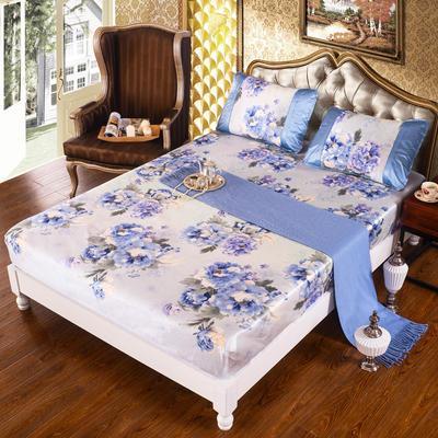 特价水洗冰丝席 床单式凉席 1.5/1.8/2m床用 1.5m(5英尺)床 (床包)迷恋-蓝