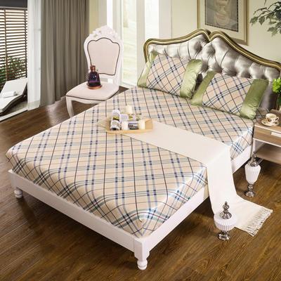 特价水洗冰丝席 床单式凉席 1.5/1.8/2m床用 1.5m(5英尺)床 (床包)英伦格调-蓝