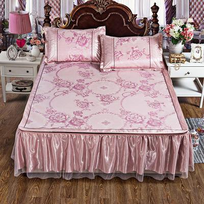2019新品-床裙式冰丝凉席 可拆卸冰丝席 时尚冰丝席 1.5m(5英尺)床 相伴一生 粉