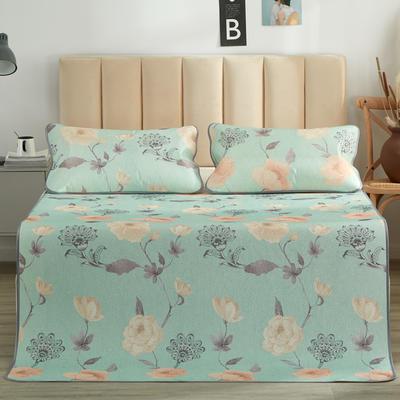 2019新品-印花冰丝席 可折叠凉席 空调席子 1.5m(5英尺)床 爱在春天