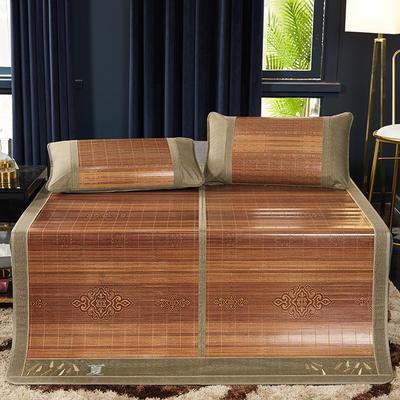 2019新品-竹藤双面席 天然竹席可折叠凉席 藤枕套/对 富贵满堂单席子