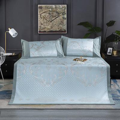 新品生态冰丝席  可折叠加厚凉席 空调席子 1.5m(5英尺)床 莫兰迪-绿