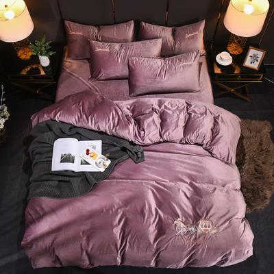 2019新品意大利绒四件套 加厚保暖宝宝绒被套丽丝绒套件 2m*2.3m 胭脂紫