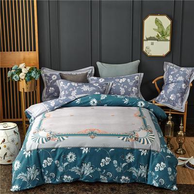 全棉大版生态磨毛四件套 加厚保暖床单被套 200*230 埃尔莎-蓝