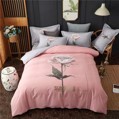 全棉大版生态磨毛四件套 加厚保暖床单被套 200*230 初恋-粉
