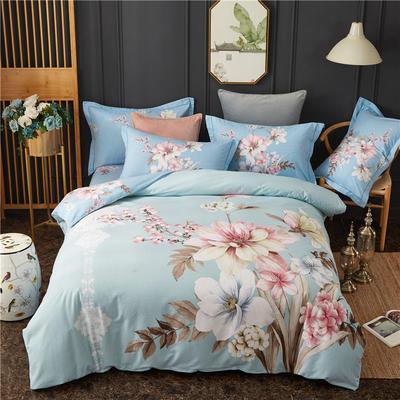 全棉大版生态磨毛四件套 加厚保暖床单被套 200*230 凡尘花语-蓝