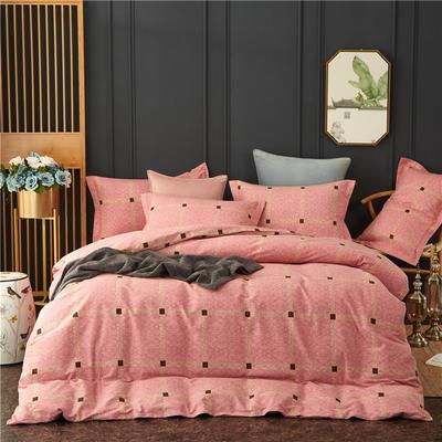 全棉大版生态磨毛四件套 加厚保暖床单被套 200*230 格尔尼斯-粉