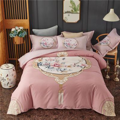 全棉大版生态磨毛四件套 加厚保暖床单被套 200*230 瑰丽庄园-粉