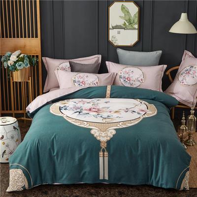 全棉大版生态磨毛四件套 加厚保暖床单被套 200*230 瑰丽庄园-蓝