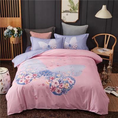 全棉大版生态磨毛四件套 加厚保暖床单被套 200*230 花忆时光-粉