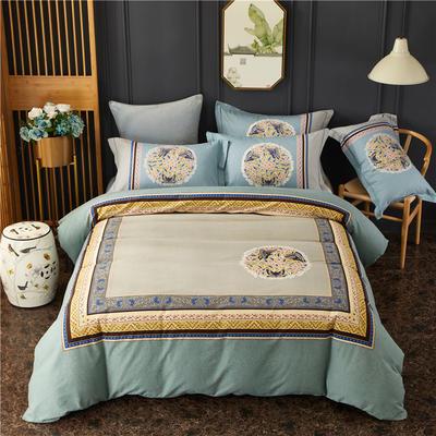 全棉大版生态磨毛四件套 加厚保暖床单被套 200*230 琉璃年华-蓝