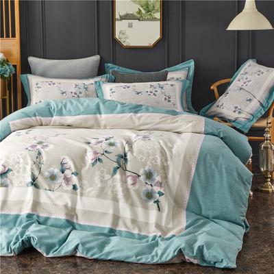 全棉大版生态磨毛四件套 加厚保暖床单被套 200*230 田园蝶舞-灰