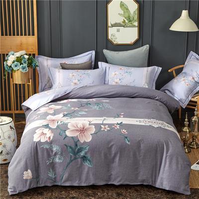 全棉大版生态磨毛四件套 加厚保暖床单被套 200*230 夜雨微澜-灰
