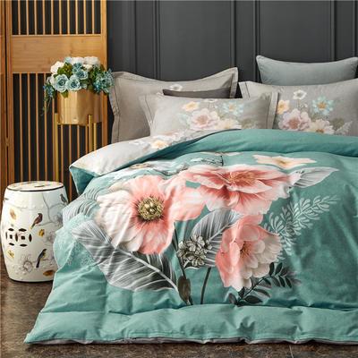 全棉大版生态磨毛四件套 加厚保暖床单被套 200*230 溢彩风情-蓝
