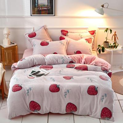 新品雪花绒四件套 加厚法莱绒200*230 一套7斤 200*230(四件套) 甜心草莓