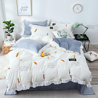 棉加绒四件套 保暖法莱绒套件 被套200*230cm 写意萝卜
