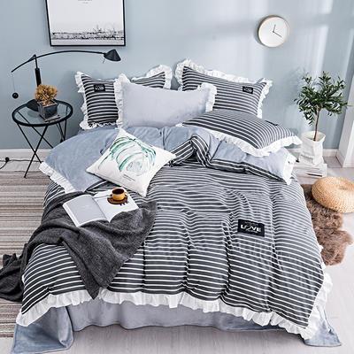 棉加绒四件套 保暖法莱绒套件 被套200*230cm 简尚条纹-灰