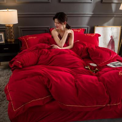 新品水晶绒三四件套 刺绣宝宝绒秋冬保暖套件 大红婚庆结婚 200*230(四件套) 大红