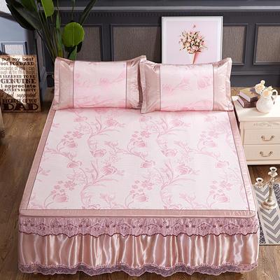可拆卸床裙式凉席  夏季提花冰丝席 1.5m(5英尺)床 相伴一生粉