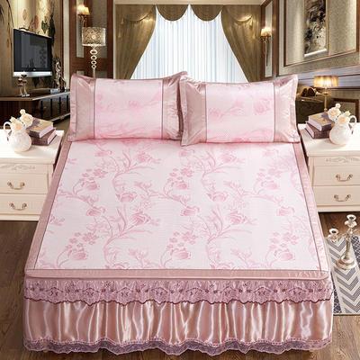 可拆卸床裙式凉席  夏季提花冰丝席 1.5m(5英尺)床 花枝招展粉